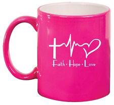 11oz Ceramic Coffee Tea Mug Glass Cup Faith Hope Love EKG Christian