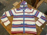 Le Tigre Hoody Sweater striped 80's Style Men's White Blue knit Zip New w Tags