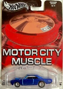 HOT WHEELS MOTOR CITY MUSCLE 1968 DODGE DART SUPER STOCK SPECTRAFLAME BLUE CHASE