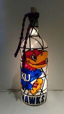 Kansas Jayhawks Inspiered Bottle Lamp Stained Glass Look Handpainted Lighted