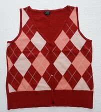 WOMENS red argyle VEST SWEATER top = TALBOTS new MEDIUM = cs68