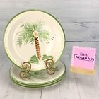 Gibson Designs PALM COURT Oven Safe Stoneware Green Trim Dinner Plates Set of 4 photo