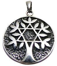 🌳 Solid 925 Sterling Silver Star of David Tree of Life Magen David Pendant 4.4g