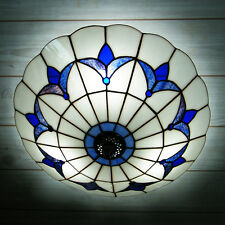 3-Lights Tiffany Style Stained Glass Semi Flush Mount Ceiling Light Lamp Fixture