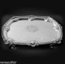 Sterling silver George lll tray - 1809, London England - center crest  FREE SHIP