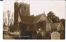 POSTCARD HADLEY CHURCH NEAR BARNET C1910 RP PUB COWINGS LIBRARY BARNET