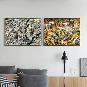 Framed Canvas Print Art Combo Painting 2 Pieces by Jackson Pollock Series#5