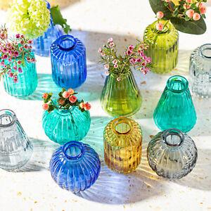 Set of 3 Glass Bud Vases Flower Pot Holder Vase Various Colours Bohemian Style