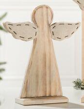 GILDE Wunderschöner Dekoständer aus Holz und Textil mit Engel, 6x25x30 cm