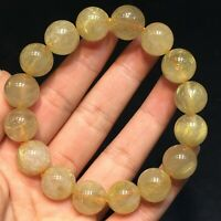 13.5mm Natural Gold Rutilated Titanium Quartz Crystal Beads Bracelet AAA