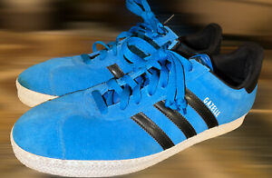 Adidas Gazelle Blue And Black Suede Sneakers Shoes Men's Size 12 Good Condition