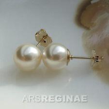 MAKELLOS & STABIL ● 8mm ● SC Perlen warm weiß rund + Ohrstecker ygf 14k Gold 585