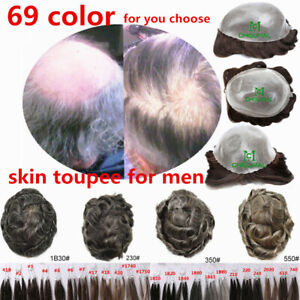 Mens Hairpiece All PU Skin Poly Scalloped Front Hair Replacement System Toupee