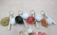3pcs/set Mini Baseball Keychain Sports Souvenir Pendant Baseball Keyring Toys HF