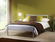Julian Bowen Alpen Silver Modern Metal Bed Frame Double 135cm 4ft6