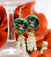 4-5mm White Round Natural Pearl with Dark Green Cloisonne Dangle earring-ear647