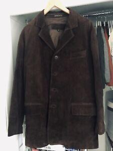 Oroton Womens Men Soft Leather Jacket Dark Brown Winter Coat Suede