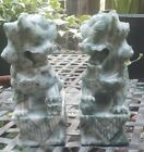 Pair Chinese Hand Carved Stone Sculptures Foo Dog Temple Beast Statues Bookends