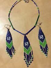 Seattle Seahawks 12th Man hand beaded delica necklace earring set
