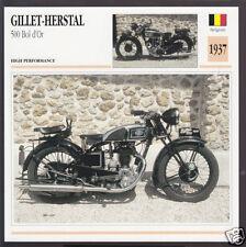 1937 Gillet-Herstal 500cc Bol d'Or Belgium Bike Motorcycle Photo Spec Info Card