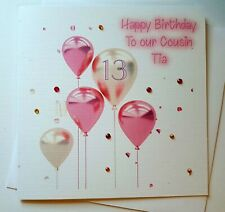 PERSONALISED BIRTHDAY BALLOON CARD, NIECE SISTER COUSIN 13TH 16TH PINK GIRL