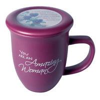 Amazing Woman Ceramic Mug &Coaster/Lid - 14 Ounce Coffee/Tea Cup - Dusky Purple
