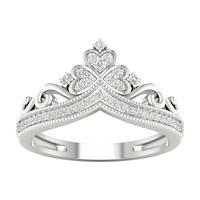 IGI Certified 10k White Gold 0.12Ct Natural Diamond Queen Crown Fashion Ring