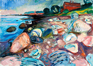 Shore with Red House by Edvard Munch A1 High Quality Canvas Print