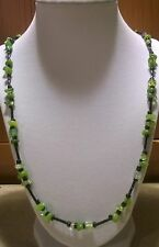 "Mens 25 inch "" Black Glass & Peridot Crackled,Green Quartzite Bead  Necklace"
