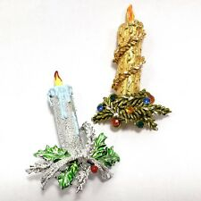 2 Christmas Candle Pin Set Silver Gold Holiday Statement Brooch Bling Rhinestone
