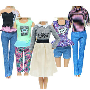 5 Outfit Blouses Shirt Shorts Pants Skirt Clothes for 12 in. Doll Accessory NQS