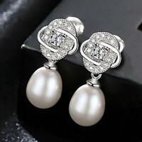 Damen Ohrringe Ohrhänger 925er Sterling Silber Süßwasser Perle AAA Rhodiniert