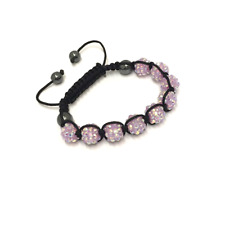 Lilac Purple Shamballa Adjustable Bracelet 10 mm 9 Disco Balls Beads Crystal Ban