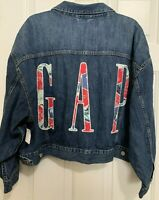 Womens NWT Gap Tropical Spell-Out Denim Jean Trucker Cropped Jacket Size 2XL