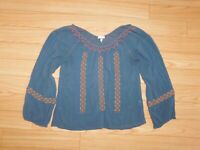 JOIE LONG SLEEVE EMBROIDERED TOP SIZE MEDIUM