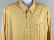 Jack Nicklaus Mens Shirt Non Iron L/S Button Front Yellow / White Checker XXL