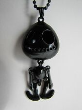 "Gothic Wiggle Jiggle Alien Skeleton-Jack Skellington Black Plated 26"" Necklace"