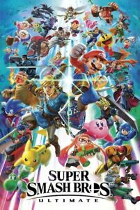 NINTENDO SUPER SMASH BROS BROTHERS ULTIMATE VIDEO GAME POSTER NEW 24x36