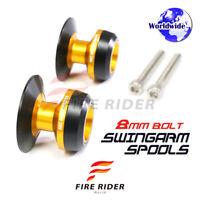 Gold 8MM Paddock Stand Bobbins For Suzuki GSR750 10-15 10 11 12 13 14 15
