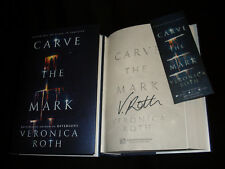 Veronica Roth signed Carve The Mark 1st printing HC book w/promo bookmark