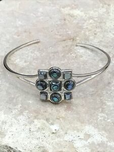 Barse Jovial Tile Cuff Bracelet- Abalone & Silver Overlay- NWT