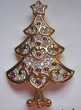 Signed Swarovski Heart Red Cabachon Christmas Tree Brooch Pin Super Spring Sale