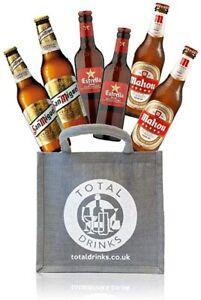 Premium Spanish Lager Mixed Gift Set of 6 Beers Estrella Damm, San Miguel, Mahou