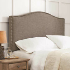Full Queen Size Upholstered Linen Fabric Headboard Bed Nailhead Gray Furniture