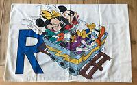 Disney Mickey Minnie Mouse & Goofy Pillowcase Alphabet Vintage Roller Coaster