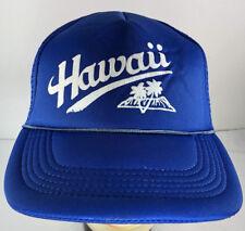 Vintage Hawaii Blue Foam Mesh Trucker Hat Snapback Skater Cap Polyester Euc