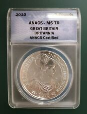 2010 Great Britain 1 oz Silver Britannia Coin 999 Fine Silver coin - ANACS MS 70