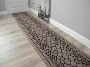 Light Brown Heavy Duty Non-Slip Rubber Backed Hall Runners Extra Long Narrow Rug