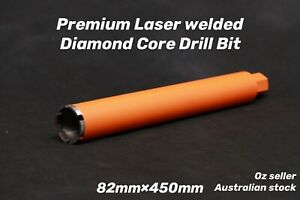 "Premium Laser welded Diamond Core Drill Bit 82mm x 450mm  1-1/4"" NUC"