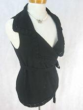 Sz 42 12 14 Anne Fontaine Designer Black Wrap Vest